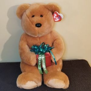 """🧞♂️ 2 for $30 💘 TY Beannie Buddies """"Gifts"""" Bear"""